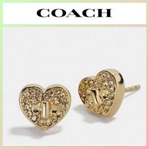 COACH Twinkling Hearts Stud Earrings Gold